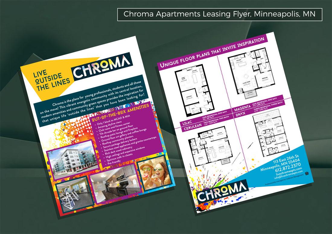 kaleidoscope design inc graphic design flyer chroma apartments